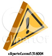 Clipart Of A 3d Isometric Warning Sign Icon Royalty Free Vector Illustration