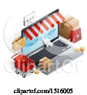 Clipart Of A 3d Laptop Computer With An Online Shop Message Credit Cards Cart And Boxes Royalty Free Vector Illustration