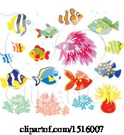 Clipart Of Tropical Marine Fish Anemone And Coral Royalty Free Vector Illustration
