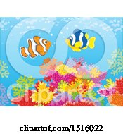 Clipart Of A Coral Reef And Fish Royalty Free Vector Illustration by Alex Bannykh