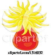 Clipart Of A Yellow And Red Sea Anemone Royalty Free Vector Illustration by Alex Bannykh