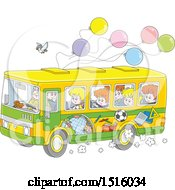 Clipart Of A School Bus With Children A Bird And Ballonos Royalty Free Vector Illustration by Alex Bannykh