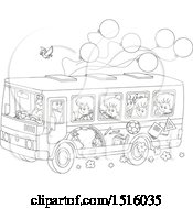 Clipart Of A Black And White School Bus With Children A Bird And Ballonos Royalty Free Vector Illustration