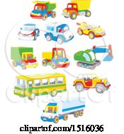 Clipart Of Colorful Toy Cars And Trucks Royalty Free Vector Illustration