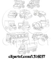 Clipart Of Black And White Toy Cars And Trucks Royalty Free Vector Illustration