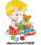 Little White Boy Playing With A Toy Dump Truck Teddy Bear And Blocks
