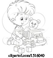 Clipart Of A Black And White Little Boy Playing With A Toy Dump Truck Teddy Bear And Blocks Royalty Free Vector Illustration