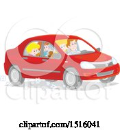 Clipart Of A Happy Family Going On A Road Trip Royalty Free Vector Illustration