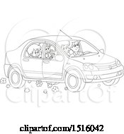 Clipart Of A Black And White Happy Family Going On A Road Trip Royalty Free Vector Illustration