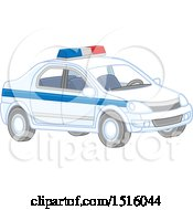 Clipart Of A Police Car Royalty Free Vector Illustration by Alex Bannykh