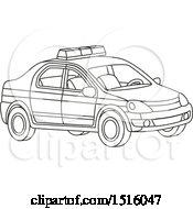 Clipart Of A Black And White Police Car Royalty Free Vector Illustration by Alex Bannykh