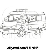 Clipart Of A Black And White Ambulance Royalty Free Vector Illustration by Alex Bannykh