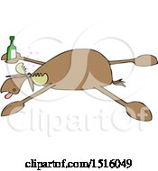 Clipart Of A Cartoon Drunk Moose Spread Eagle Royalty Free Vector Illustration