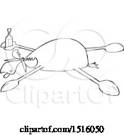 Clipart Of A Cartoon Black And White Drunk Moose Spread Eagle Royalty Free Vector Illustration