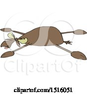 Clipart Of A Cartoon Moose Spread Eagle Royalty Free Vector Illustration