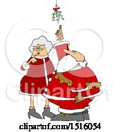Cartoon Christmas Santa Claus And The Mrs Under The Mistletoe