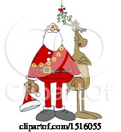 Cartoon Christmas Santa Claus And Reindeer Under The Mistletoe