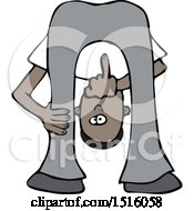 Cartoon Black Man Bending Over Looking Between His Legs And Flipping The Bird Middle Finger