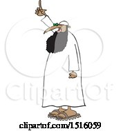 Clipart Of A Cartoon Muslim Cleric Holding Up A Finger Royalty Free Vector Illustration