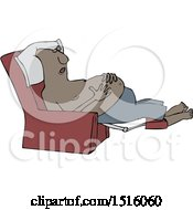 Cartoon Shirtless Black Man Sleeping In A Recliner Chair Resting His Hands On His Belly