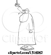 Clipart Of A Cartoon Black And White Muslim Cleric Holding Up A Finger Royalty Free Vector Illustration
