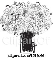 Black And White Rose Boquet In A Vase