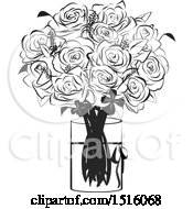 Poster, Art Print Of Black And White Rose Boquet In A Vase