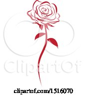 Clipart Of A Red Rose Royalty Free Vector Illustration