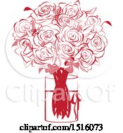 Poster, Art Print Of Red Rose Bouquet In A Vase