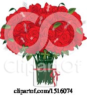 Clipart Of A Red Rose Boquet In A Vase Royalty Free Vector Illustration by Vitmary Rodriguez