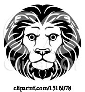 Clipart Of A Black And White Male Lion Head Royalty Free Vector Illustration