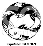 Clipart Of A Zodiac Horoscope Astrology Pisces Fish Circle Design In Black And White Royalty Free Vector Illustration