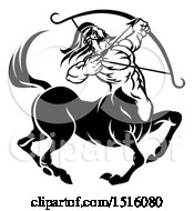Clipart Of A Zodiac Horoscope Astrology Centaur Sagittarius Design In Black And White Royalty Free Vector Illustration by AtStockIllustration