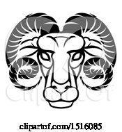 Clipart Of A Zodiac Horoscope Astrology Aries Ram Design Black And White Royalty Free Vector Illustration