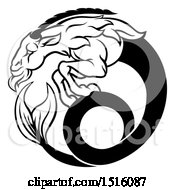Clipart Of A Zodiac Horoscope Astrology Capricorn Sea Goat Design In Black And White Royalty Free Vector Illustration