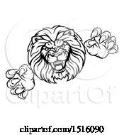 Clipart Of A Black And White Male Lion Attacking Royalty Free Vector Illustration