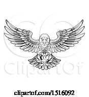 Clipart Of A Black And White Swooping American Bald Eagle With A Soccer Ball In His Talons Royalty Free Vector Illustration