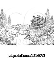 Clipart Of A Black And White Big Bad Wolf Blowing Down A Straw House Royalty Free Vector Illustration
