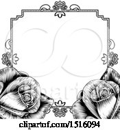 Poster, Art Print Of Black And White Border Or Wedding Invitation With Roses