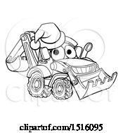 Poster, Art Print Of Lineart Bulldozer Digger Mascot Character Wearing A Santa Hat