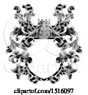 Clipart Of A Knights Great Helm Helmet And Filigree Crest Coat Of Arms Shield Royalty Free Vector Illustration