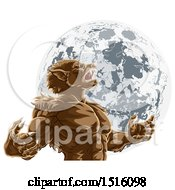 Clipart Of A Werewolf Beast Howling And Transforming Against A Full Moon Royalty Free Vector Illustration by AtStockIllustration