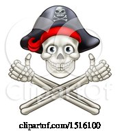 Clipart Of A Pirate Skull And Cross Bones Jolly Roger With Thumbs Up Royalty Free Vector Illustration by AtStockIllustration