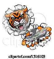 Clipart Of A Tiger Mascot Playing A Video Game And Breaking Through A Wall Royalty Free Vector Illustration by AtStockIllustration