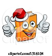 Clipart Of A Christmas Story Book Character Mascot Giving Two Thumbs Up And Wearing A Santa Hat Royalty Free Vector Illustration