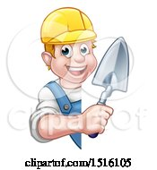 Clipart Of A White Male Mason Worker Holding A Trowel Around A Sign Royalty Free Vector Illustration by AtStockIllustration