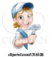 Cartoon Happy White Female Carpenter Holding A Hammer Around A Sign
