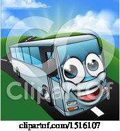 Clipart Of A Happy Coach Bus Mascot Royalty Free Vector Illustration by AtStockIllustration