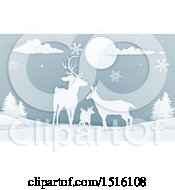 Clipart Of A Paper Craft Styled Deer Family With Snowflakes At Night Royalty Free Vector Illustration