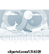 Clipart Of A Paper Craft Styled Deer Family With Snowflakes At Night Royalty Free Vector Illustration by AtStockIllustration